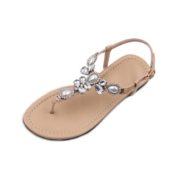 Thong Buckle Flat With Rhinestone Casual Sandals