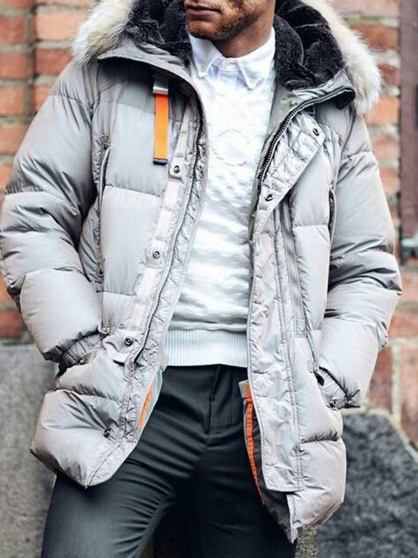 Color Block Hooded Patchwork Casual Zipper Down Jacket