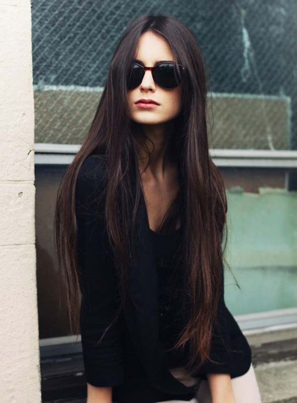 Human Hair Straight Lace Front Cap Women 26 Inches Wig