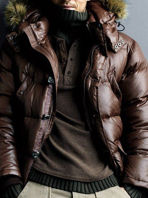 Mid-Length Plain Single-Breasted Casual Down Jacket