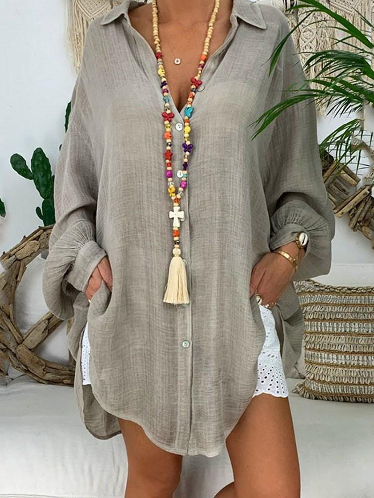 Lapel Button Plain Mid-Length Long Sleeve Blouse