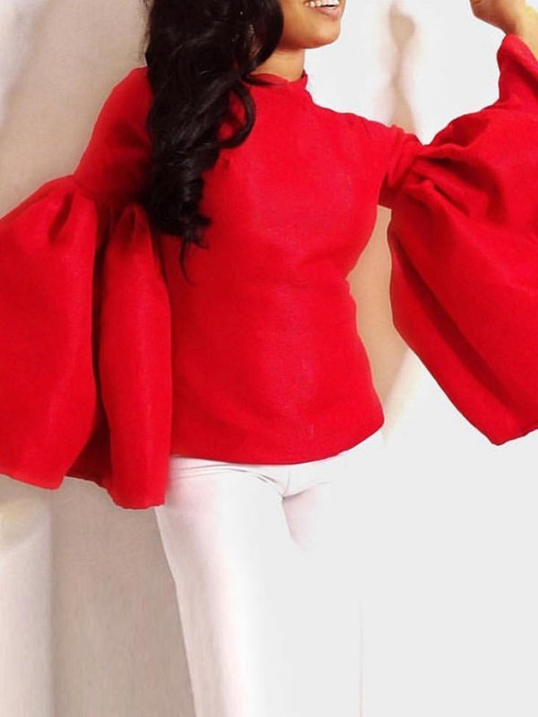 Plain Flare Sleeve Standard Long Sleeve Blouse