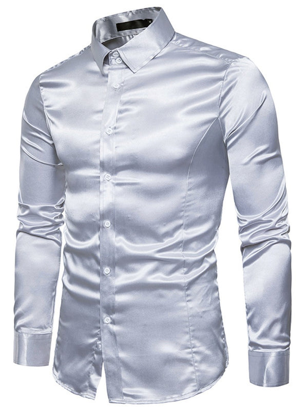 Lapel Plain Single-Breasted Spring Shirt