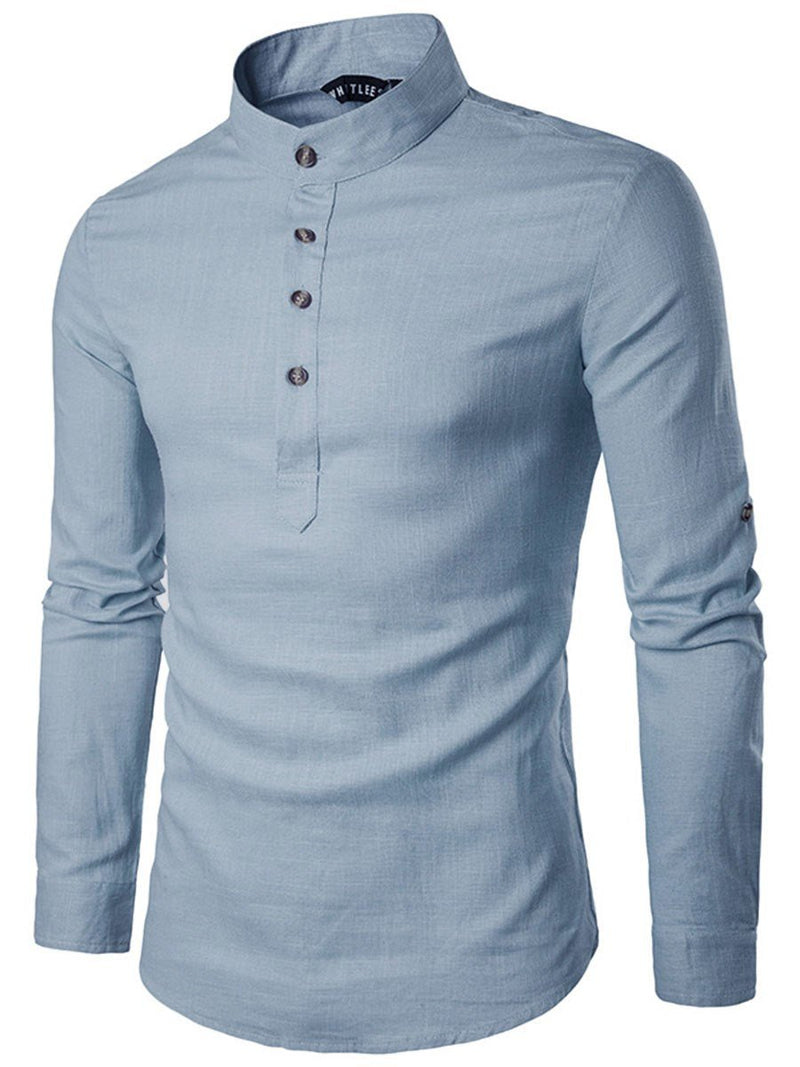 Stand Collar Plain Slim Spring Shirt