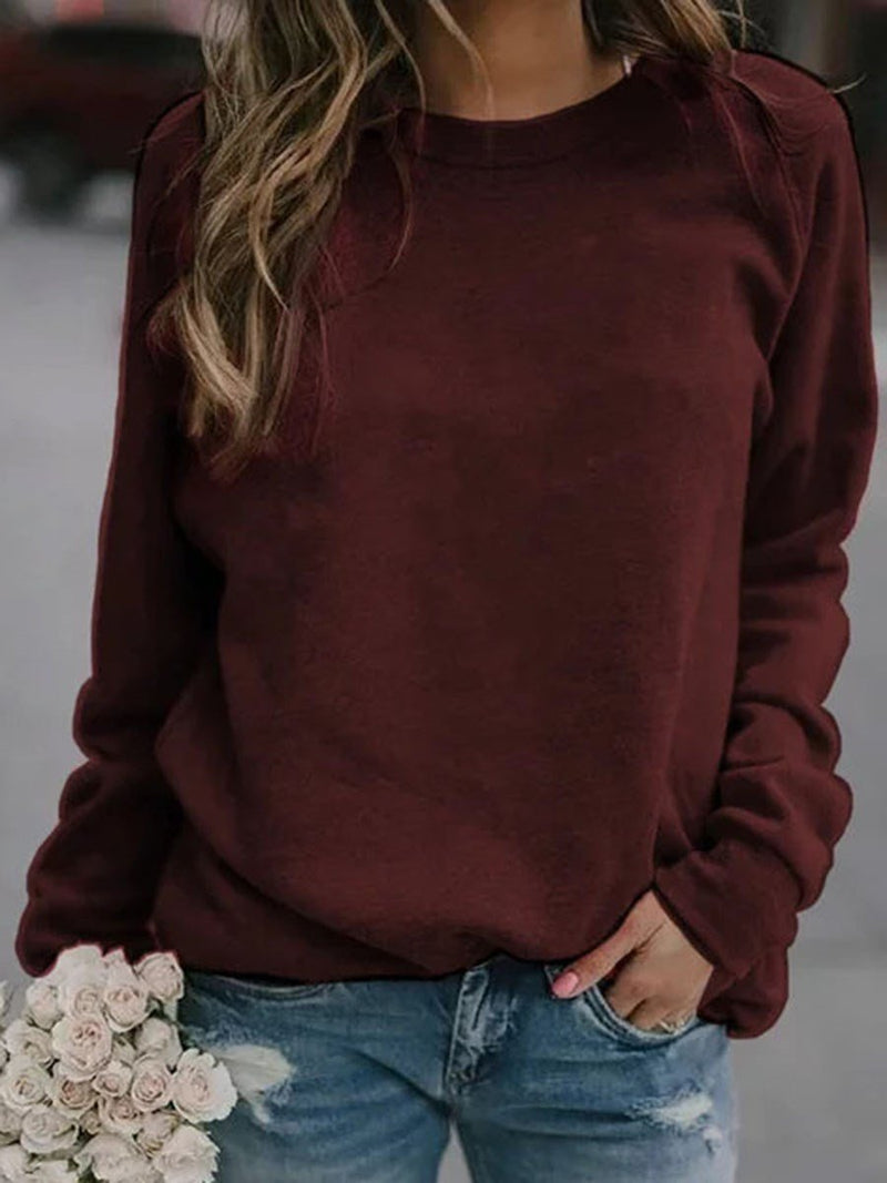 Plain Long Sleeve Round Neck Western Loose T-Shirt