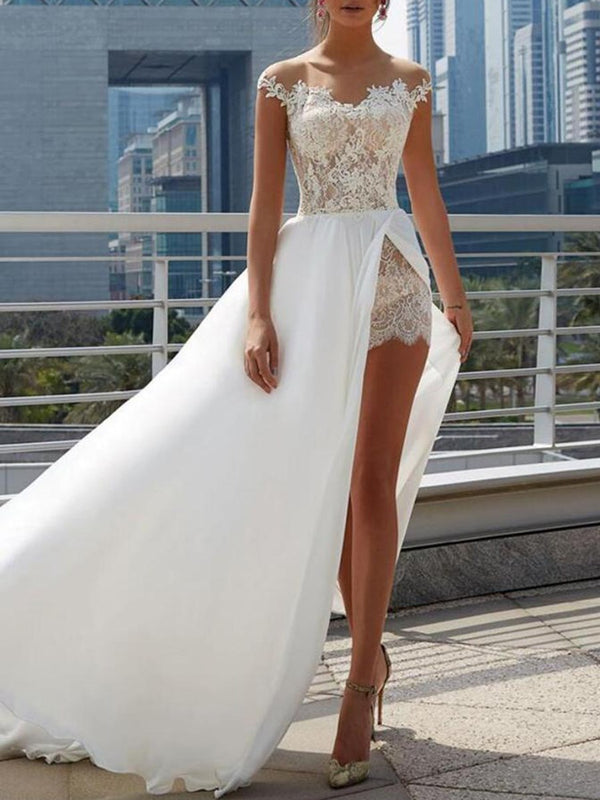A-Line Scoop Sweep/Brush Floor-Length Beach Wedding Dress