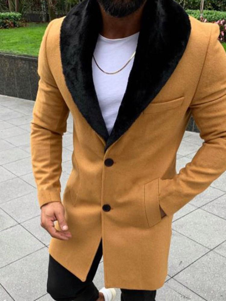 Mid-Length Patchwork Color Block Casual Fall Coat