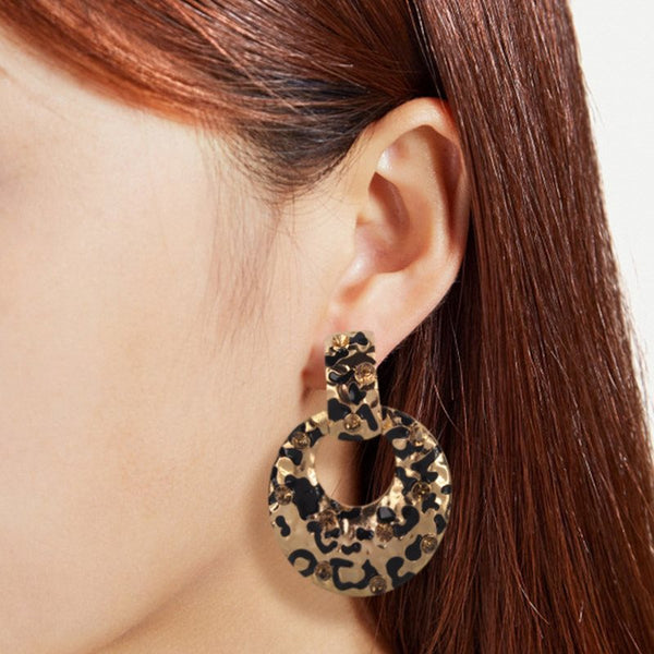 Leopard Alloy E-Plating Prom Earrings