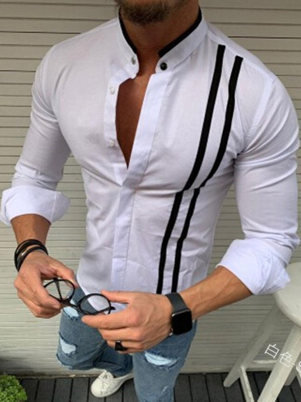 European Button Color Block Spring Single-Breasted Shirt