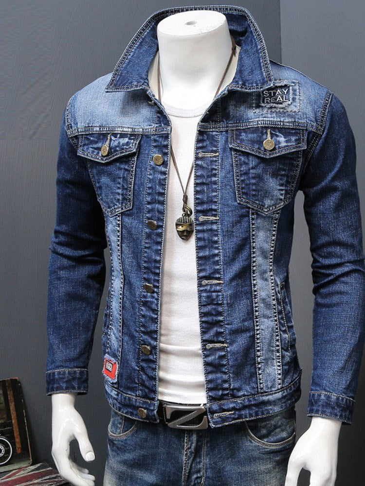 Lapel Single Breasted Long Sleeve Men's Jacket