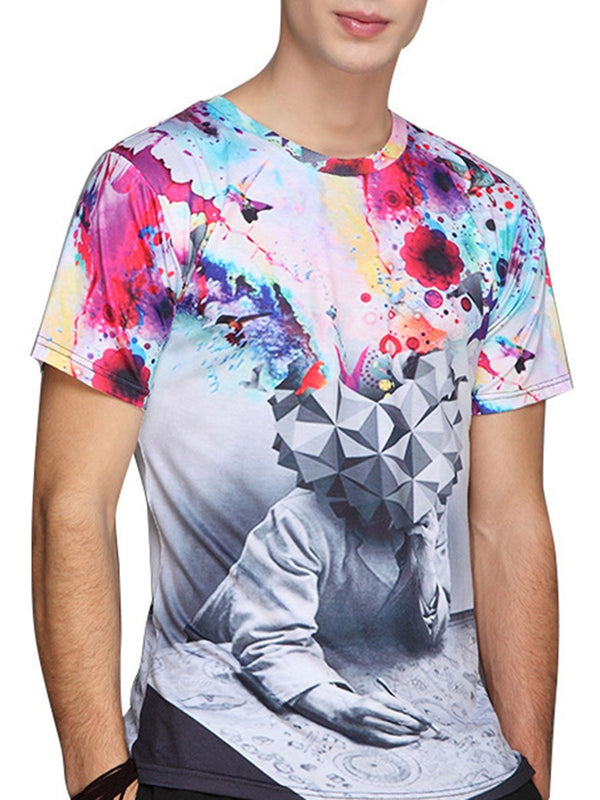 Print Round Neck Fashion Slim Short Sleeve T-shirt