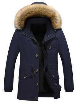 Pocket Hooded Mid-Length Zipper Casual Down Jacket