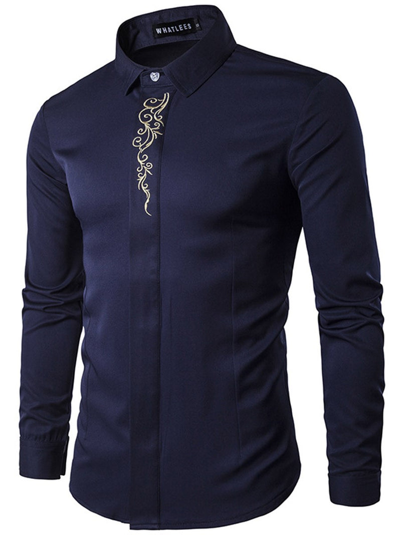 Print Plain Lapel Single-Breasted Spring Shirt