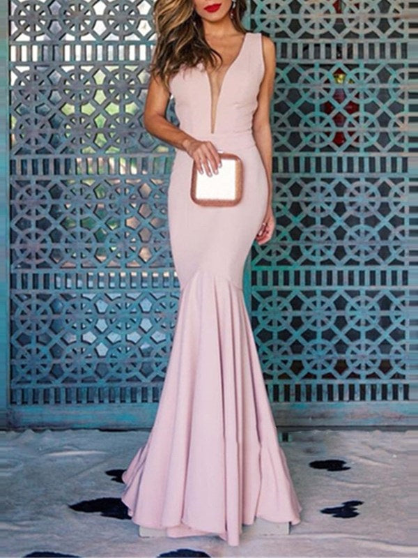 Sleeveless Ruched Straps Trumpet/Mermaid Evening Dress