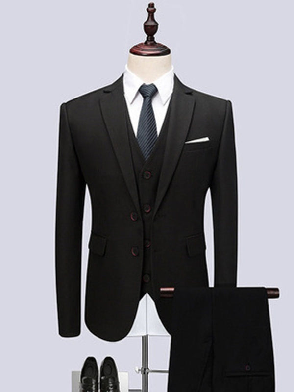Button Plain Single-Breasted Dress Suit