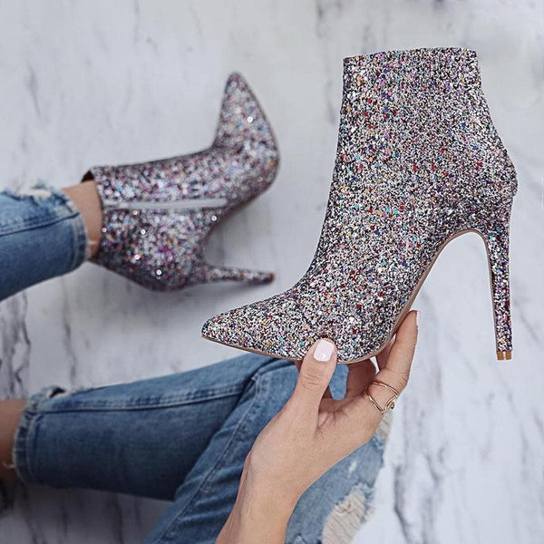 Stiletto Heel Pointed Toe Plain Side Zipper Casual Sequin Boots