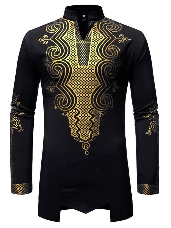 Stand Collar Print African Ethnic Style Slim Fall Shirt