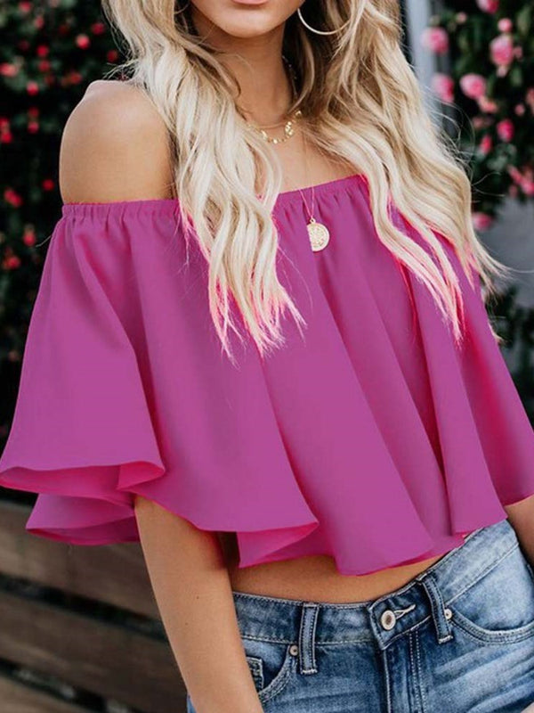 Flare Sleeve Pleated Off Shoulder Half Sleeve Short Blouse