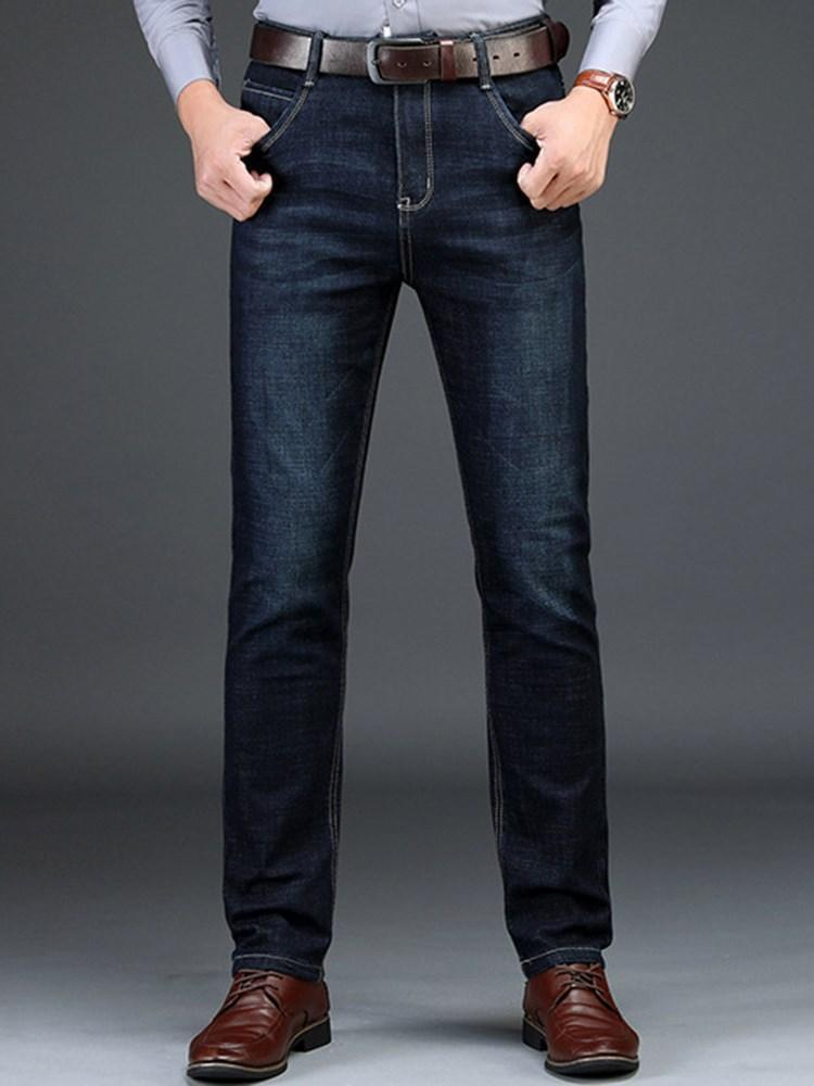 Plain Straight Pocket European Mid Waist Jeans