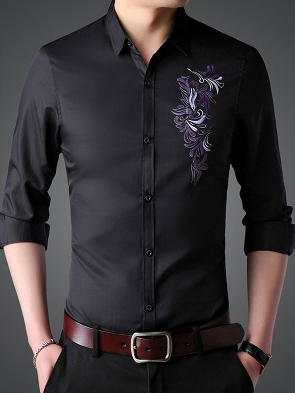 Print Floral OL Fall Slim Shirt