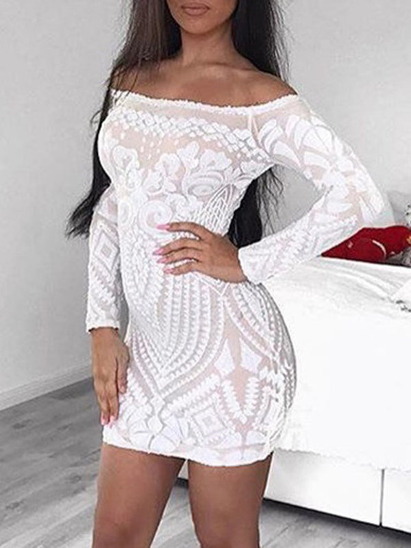 Slash Neck Sequins Above Knee Plain Bodycon Dress