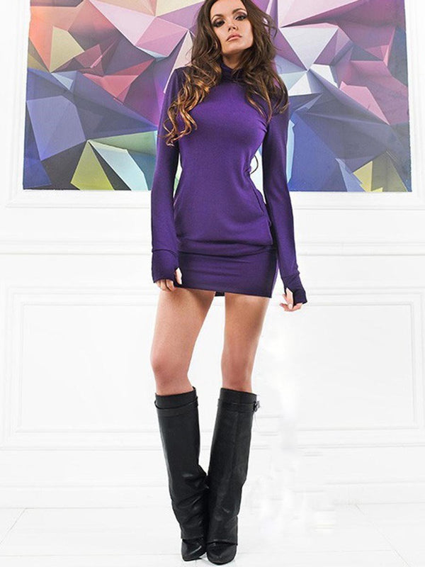 Above Knee Long Sleeve Patchwork Plain Bodycon Dress