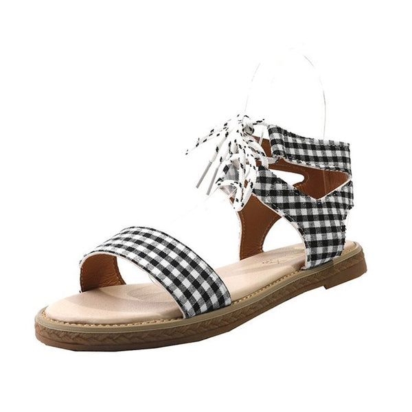 Ankle Strap Lace-Up Block Heel Open Toe Casual Plaid Sandals