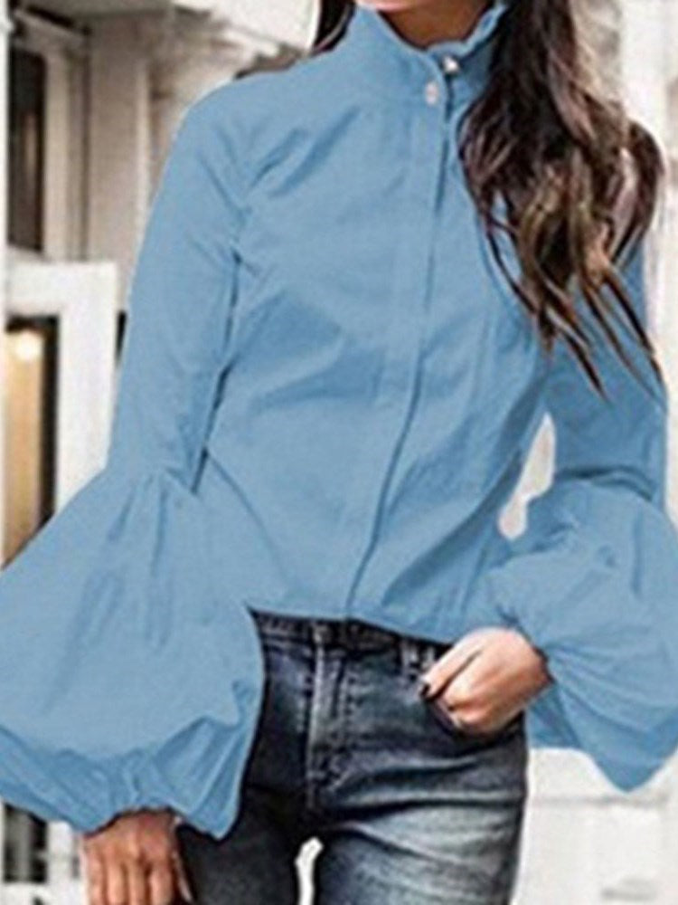 Lantern Sleeve Stand Collar Button Long Sleeve Mid-Length Blouse