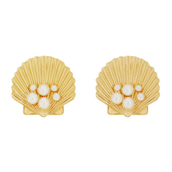 Pearl Inlaid European Alloy Prom Earrings