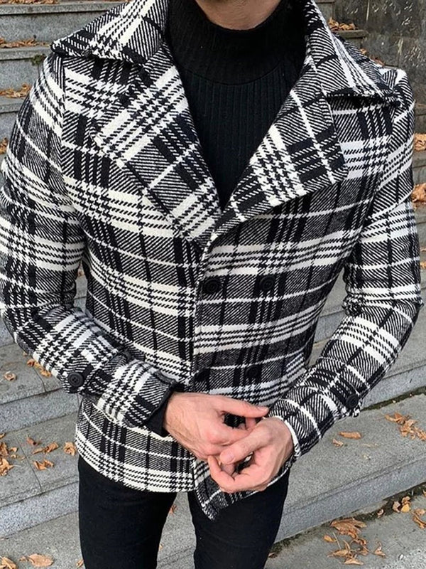 Lapel Plaid Thick Casual Double-Breasted Jacket
