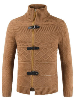 Stand Collar Patchwork Standard Casual Slim Sweater