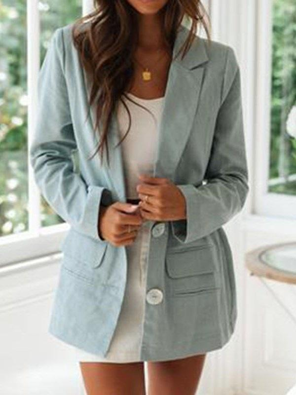 Plain Single-Breasted Notched Lapel Mid-Length Spring Casual Blazer