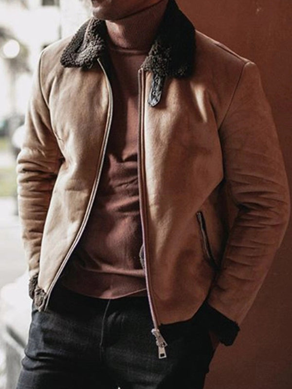 Lapel Standard Straight Zipper Leather Jacket