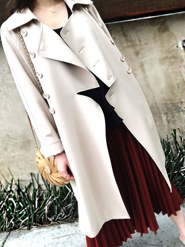 Lapel Double-Breasted Long Casual Loose Trench Coat