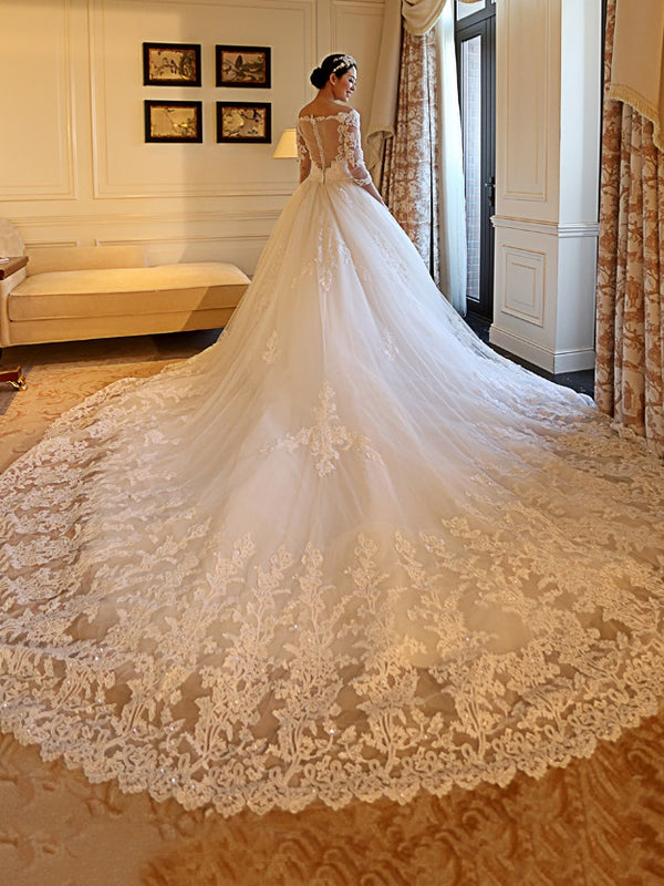 Beading Chapel Ball Gown Off-The-Shoulder Hall Wedding Dress