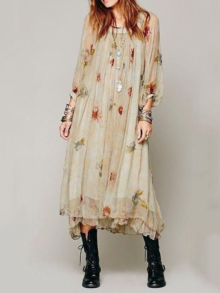 Print Mid-Calf Three-Quarter Sleeve Pullover A-Line Dress