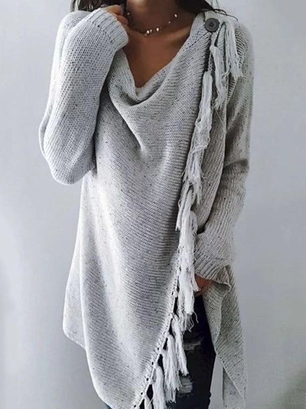 One Button Tassel Loose Mid-Length Sweater