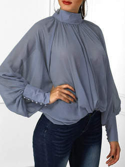 Plain Batwing Sleeve Standard Long Sleeve Blouse