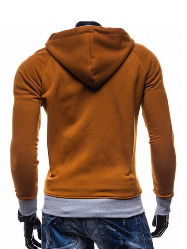 Cardigan Patchwork Color Block Slim Hooded Hoodies