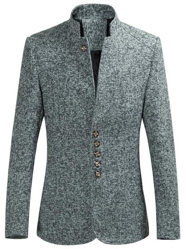 Plain Button Mid-Length Casual Single-Breasted Coat