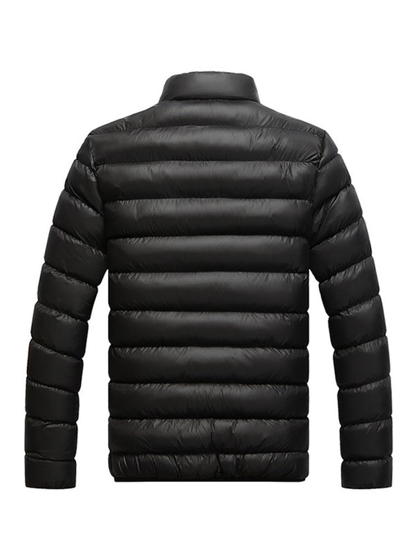 Standard Stand Collar Color Block Zipper Casual Down Jacket