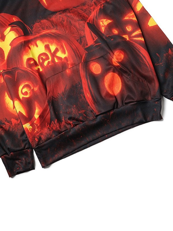 Halloween Scary Pumpkin Long Sleeve Sweatshirts Hoodie