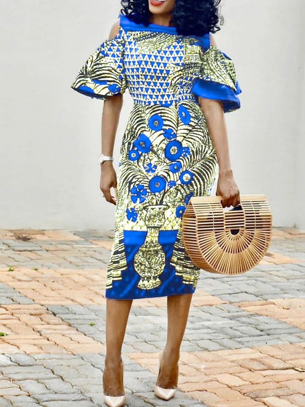Mid-Calf Short Sleeve Print African Ethnic Style Color Block Dress