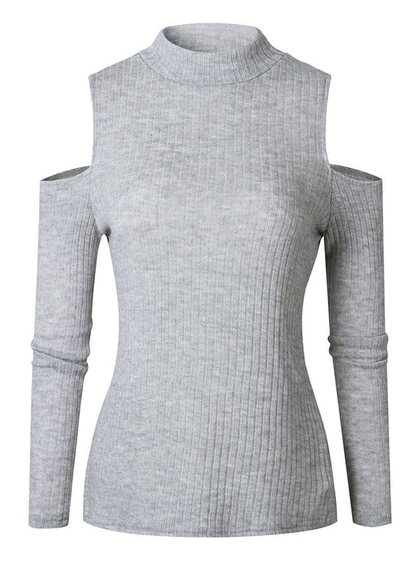 Hollow Regular Stand Collar Long Sleeve Sweater