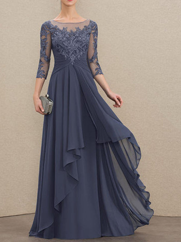 Patchwork Floor-Length Round Neck Pullover Regular Dress