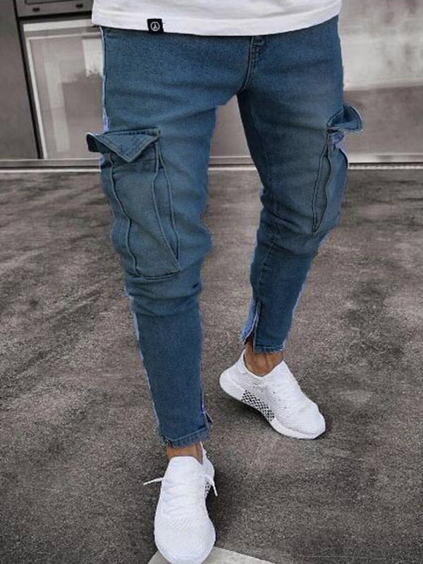 Thin Plain Pencil Pants Mid Waist Zipper Jeans
