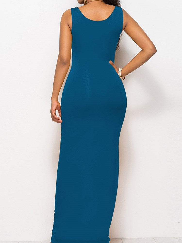 Ankle-Length Sleeveless Pullover Bodycon Dress