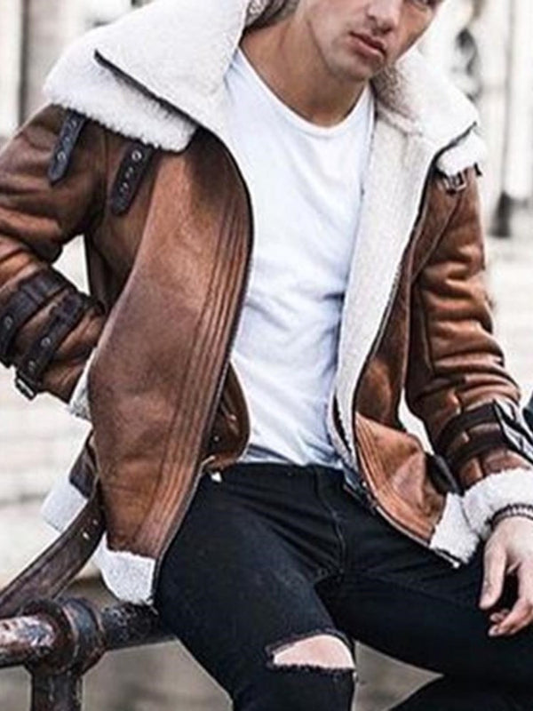 Lapel Color Block Thick Loose Fall Jacket