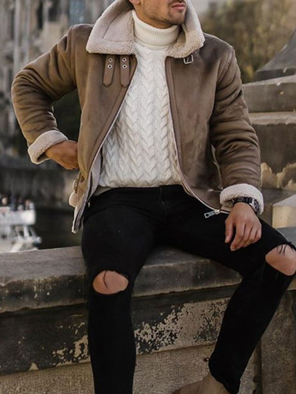 Color Block Lapel Zipper Winter Loose Jacket