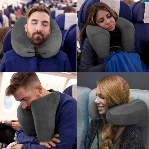 H Shape Inflatable Neck Protection for Airplanes Car Travel Pillow